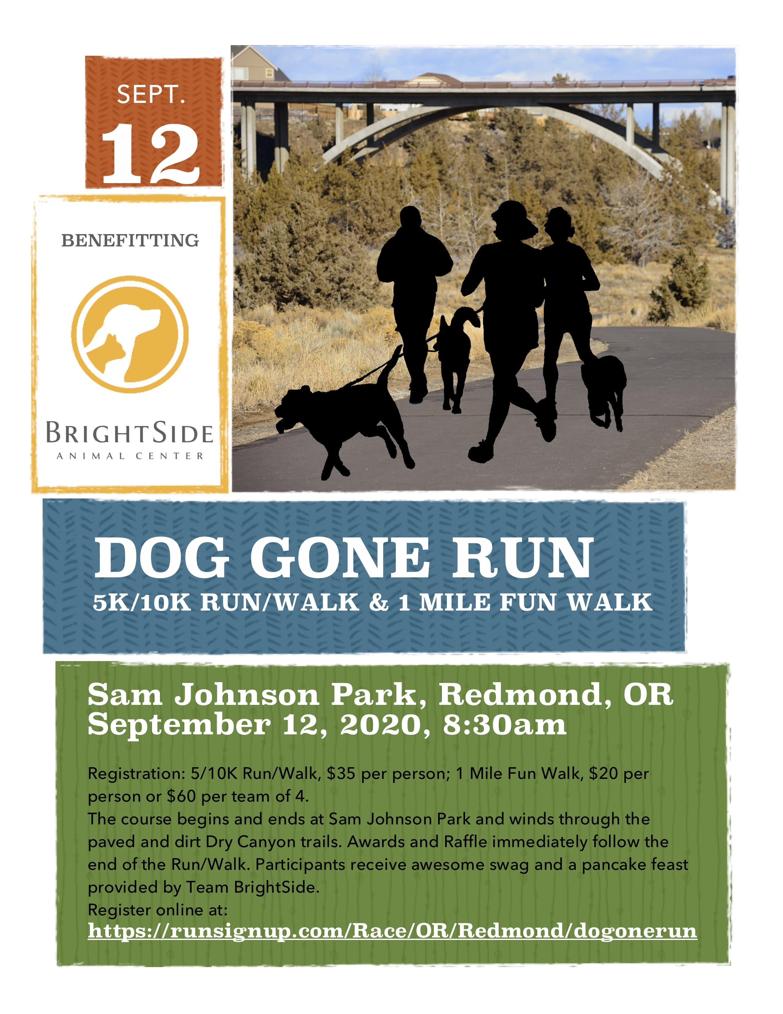 The Dog Gone Run will be held Sept. 12, 2020, at Sam Johnson Park in Redmond, OR.
